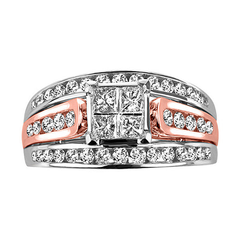 White and Rose Gold Princess Cut Diamond Engagement Ring Set