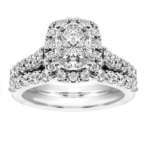 White Gold Princess Cut Diamond Engagement Set