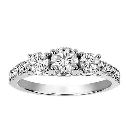 White Gold Diamond Past Present Future Engagement Ring