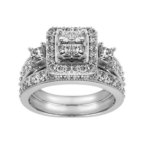 14kt White Gold Round Brilliant Diamond Engagement Ring and Band Set
