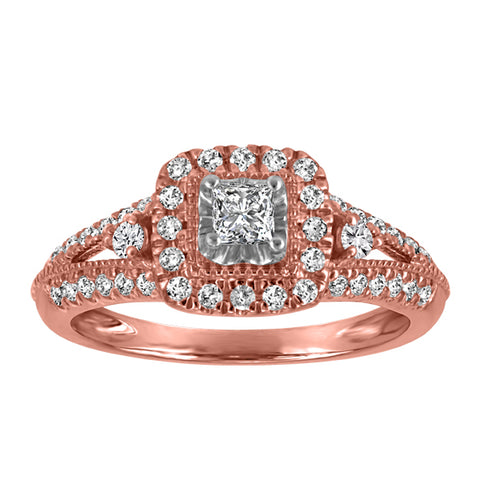 10kt White/Rose Gold Halo Diamond Engagement Ring