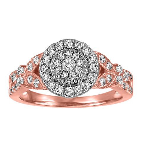 10kt White/Rose Gold Round Brilliant Halo Diamond Engagement Ring