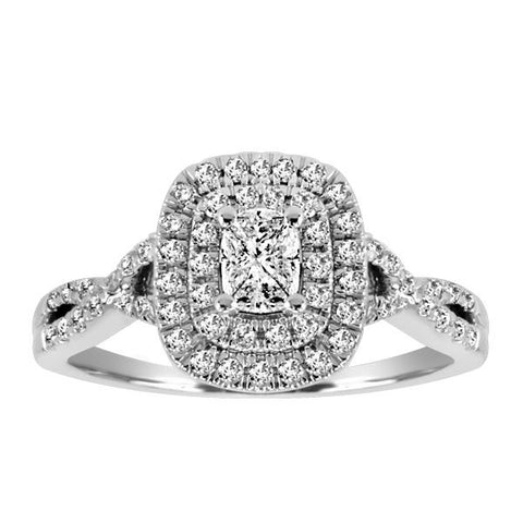 14kt White Gold Diamond Halo Engagement Ring
