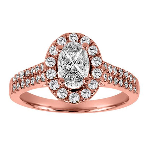14kt Rose Gold Diamond Halo Engagement Ring