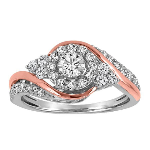 14kt White and Rose Gold Round Brilliant Diamond Halo Engagement Ring