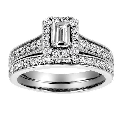 14KT White Gold Diamond Engagement Ring & Band Set