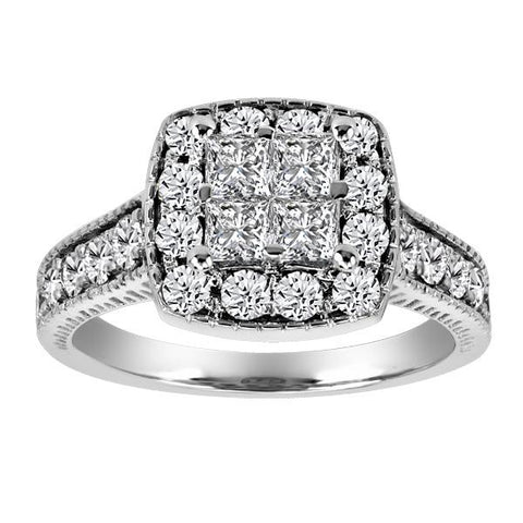 1.25 CTW, 14kt White Gold Round Brilliant Diamond Engagement Ring