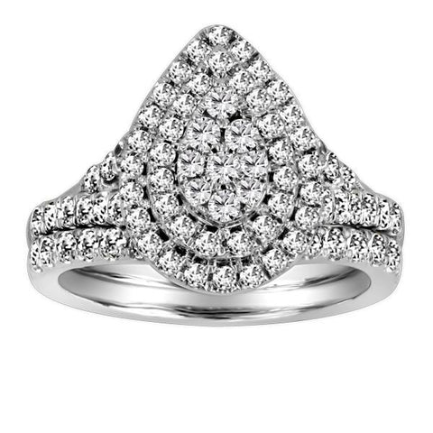 14kt White Gold Diamond Engagement Ring Wed. Band Set