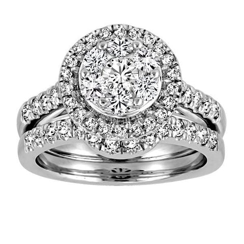 14kt White Gold Round Brilliant Diamond Halo Engagement Ring Band Set