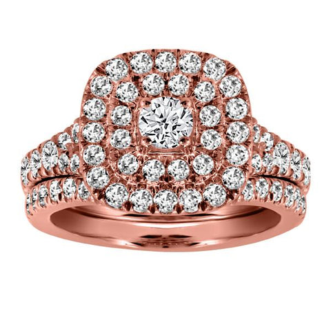 14KT Rose Gold Halo Diamond Engagement Ring Band Set