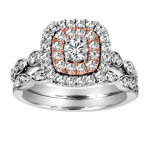 14kt White/Rose Gold Round Brilliant Halo Diamond Engagement Ring Band Set