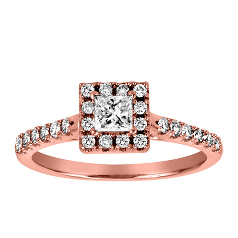 14KT Rose Gold Princess Cut Diamond Engagement Ring