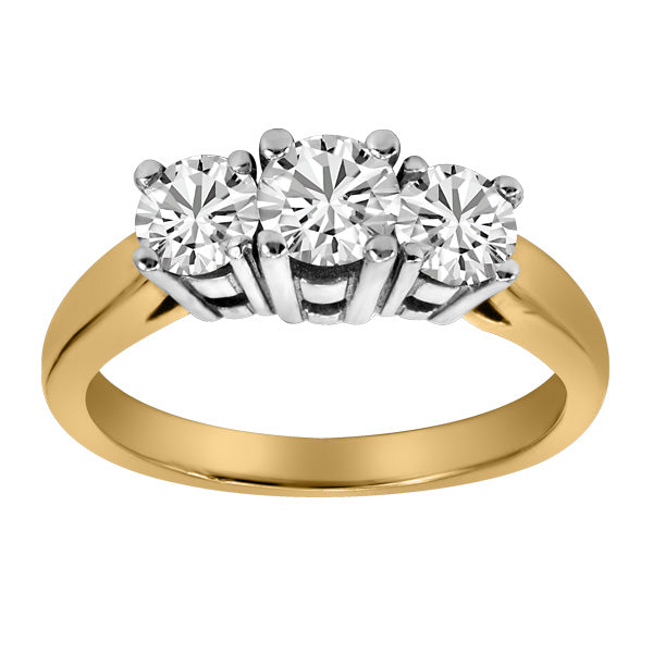 Gold 3-Stone Canadian Diamond Engagement Ring