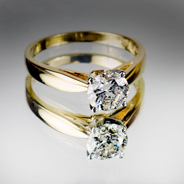 Yellow Gold 1 00 Carat Great Canadian Diamond Solitaire Ring