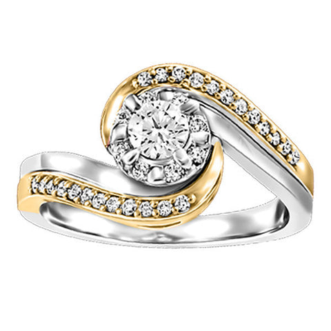 Two Tone Gold Fire of the North Engagement Ring