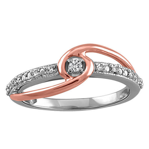 White and Rose Gold Fire of the North Canadian Diamond Ring