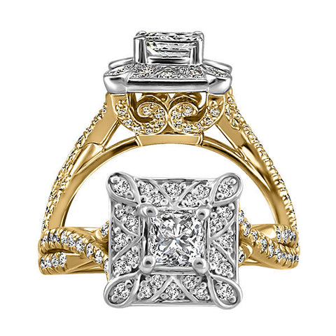 Two Tone Gold Fire of the North Canadian Diamond Ring