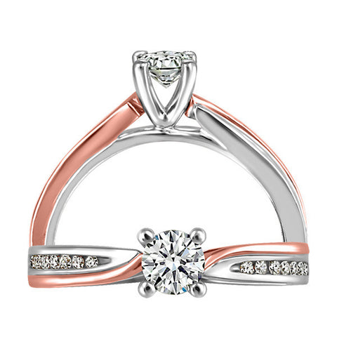 White and Rose Gold Canadian Diamond Engagement Ring