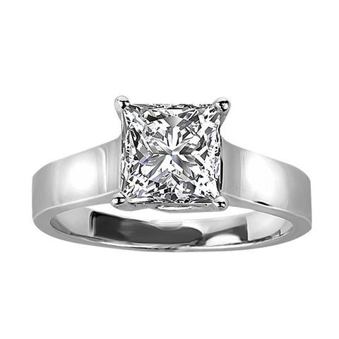 White Gold 150 Carat Princess Cut Canadian Diamond Solitaire
