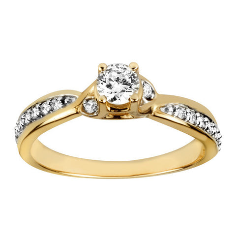 Fire of the North Yellow Gold Round Brilliant Canadian Diamond Engagement Ring