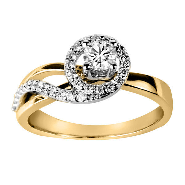 Fire of the North Yellow and White Gold Round Brilliant Canadian Diamond Engagement Ring