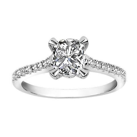 18Kt White Gold Cushion Cut Fire of the North Engagement Ring