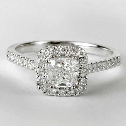 18KT Fire of the North Cushion Cut Engagement Ring