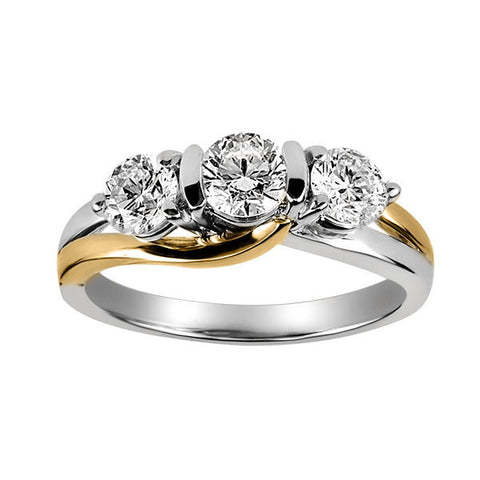 Two Tone Gold Fire of the North Diamond Engagement Ring
