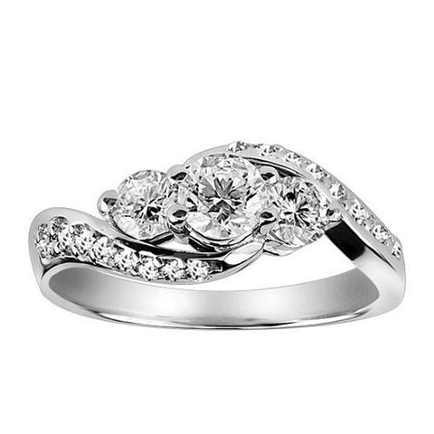 White Gold Fire of the North Diamond Engagement Ring