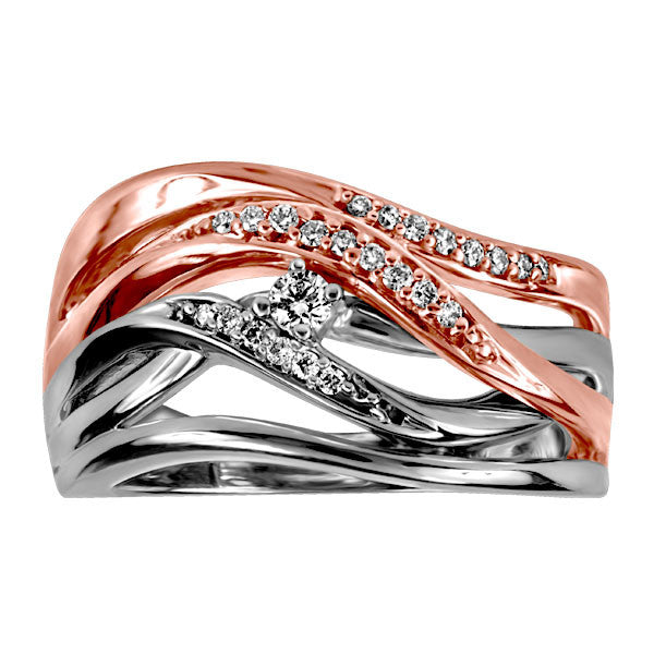 White and Rose Gold Canadian Diamond Ring