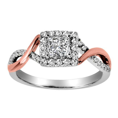 14kt White and Rose Gold Canadian Diamond Engagement Ring