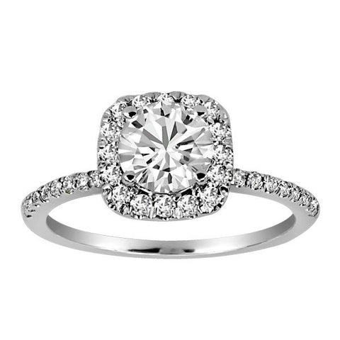 18kt White Gold Plt Head Round Brilliant Canadian Ideal Diamond Engagement Ring
