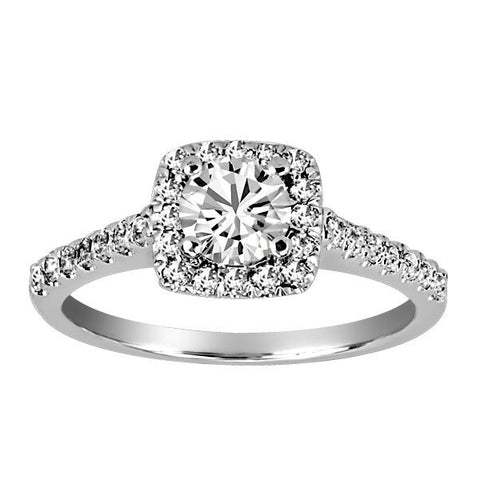 18kt White Gold Plt Head Canadian Ideal Diamond Engagement Ring