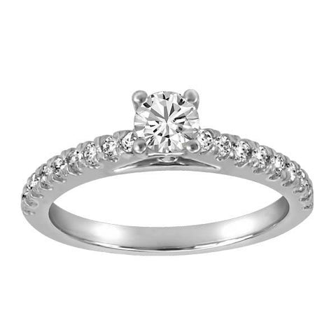 18kt White Gold Plt Head Round Brilliant Ideal Diamond Engagement Ring