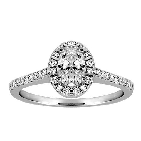 18kt White Gold Oval Halo Diamond Engagement Ring   |  Fire of the North Collection