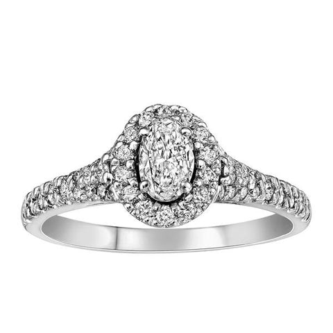 18kt White Gold Oval Halo Diamond Engagement Ring