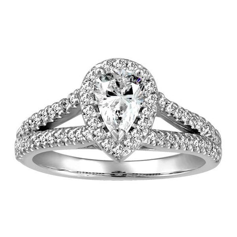 White Gold Pear Shape Halo Diamond Engagement Ring