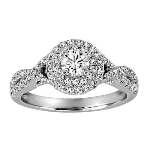 18kt White Gold Round Brilliant Diamond Double Halo Engagement Ring