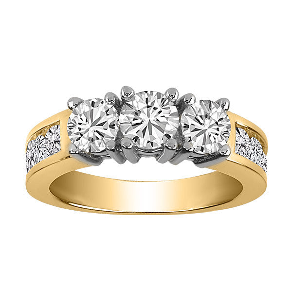 Gold 2.00 Carat 3 Diamond Engagement Ring