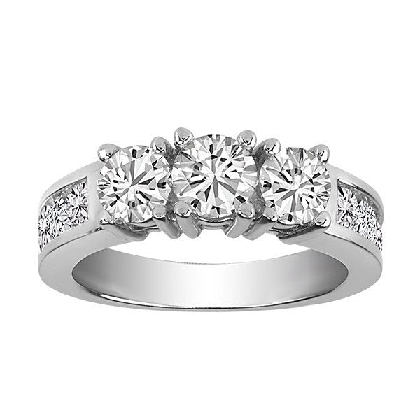 White Gold 2.00 ctw 3 Diamond Engagement Ring