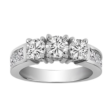 White Gold .50 Ctw 3 Diamond Engagement Ring