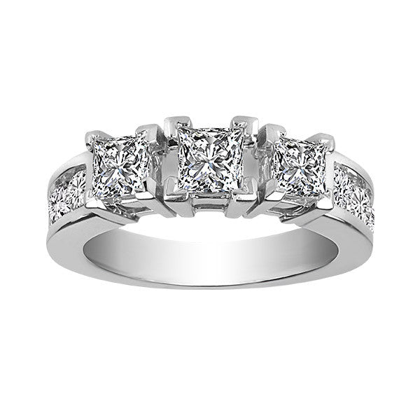 White Gold 2.00 Carat 3 Diamond Engagement Ring
