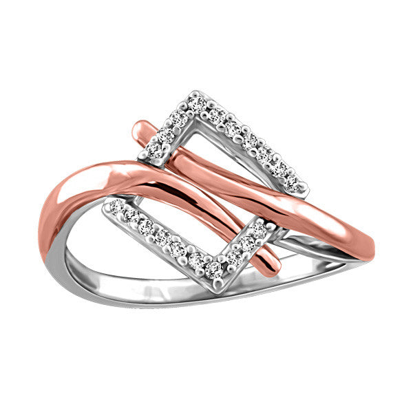 White And Rose Gold Diamond Ring  |  Clearance