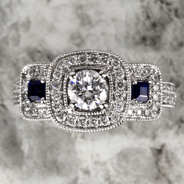 White Rose Gold Blue Sapphire Ring