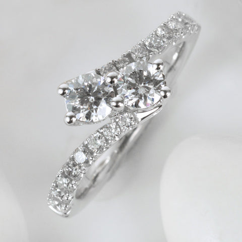 Two True White Gold Diamond Ring