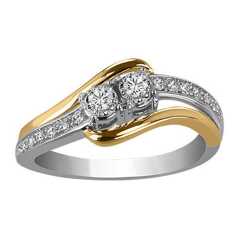 Two True Two Tone Gold Diamond Ring