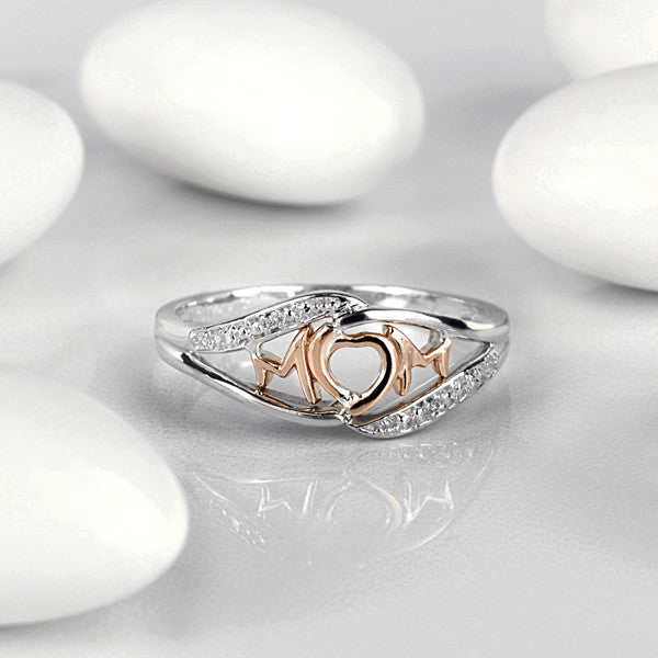 White and Rose Gold Diamond Mom Ring