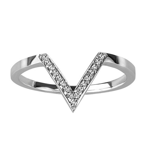 White Gold Diamond V Ring