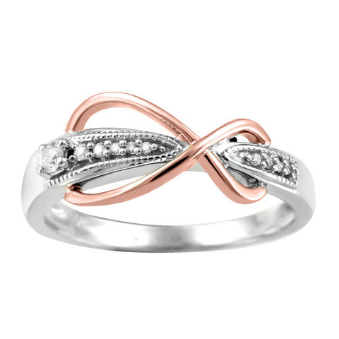 White And Rose Gold Diamond Infinity Ring