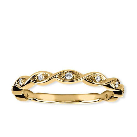 Stackable Yellow Gold Diamond Ring